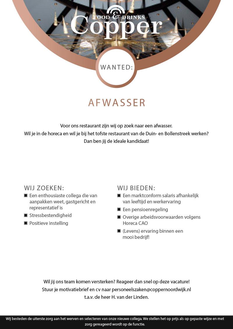 Afwasser gezocht voor Restaurant Copper te Noordwijk